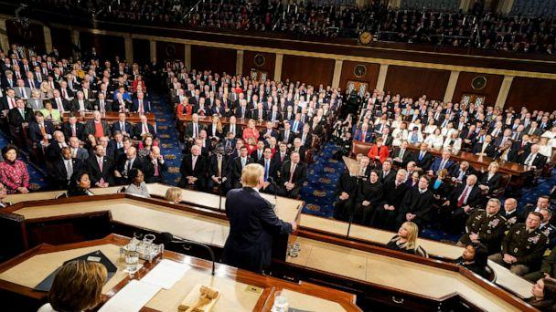PHOTO: President Donald Trump delivers his State of the Union address to a joint session of Congress on Capitol Hill in Washington, Tuesday, Feb. 4, 2020, as House Speaker Nancy Pelosi, D-Calif., left, watches. (Doug Mills/The New York Times via AP, Pool)