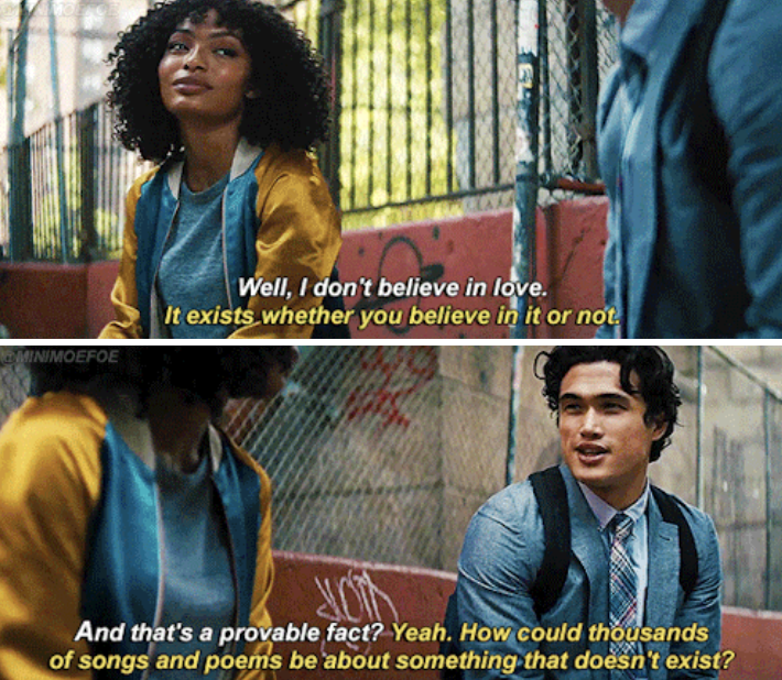 Daniel and Natasha talking to each other about love, and how Natasha believes it doesn't exist