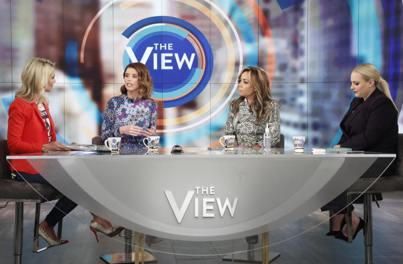 Elisabeth Hasselbeck (Far L) is responding to Meghan McCain (Far right)'s comments about her previous coronavirus stance on a March 11 episode of