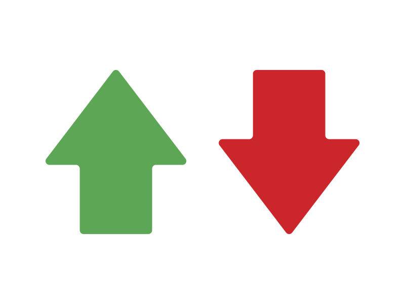 Green arrow pointing up and red arrow pointing down