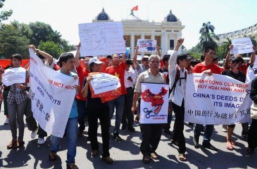 Vietnamese protesters stage an anti-China rally in Hanoi