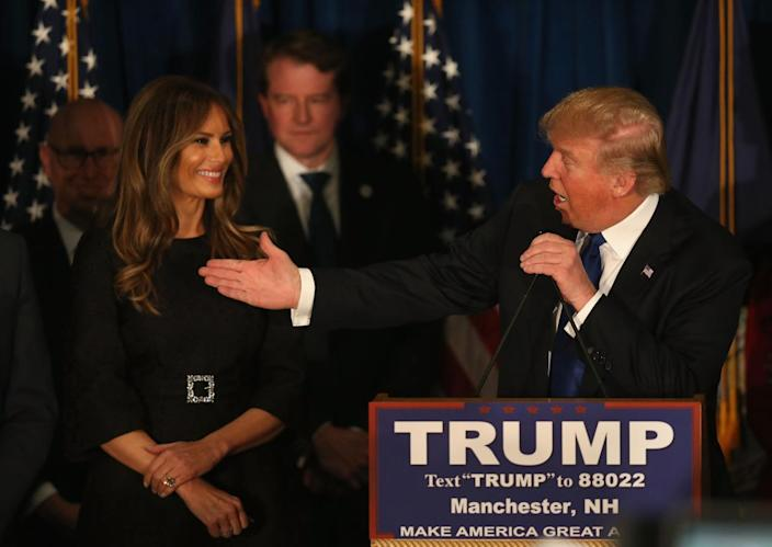 <p>Republican presidential candidate Donald Trump expresses his gratitude to his wife, Melania, after the New Hampshire primary, at his victory party at the Executive Court Banquet Facility on Feb. 9, 2016, in Manchester, N.H. Trump was projected the Republican winner shortly after the polls closed. (Joe Raedle/Getty Images)</p>