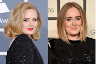 <p>When Adele first got her start, she was known almost as much for her voice as her teased hair and winged black eyeliner. While we'll never be disappointed by seeing her rock a glamorous old Hollywood look on the red carpet, in recent years she's embraced a softer look.</p>