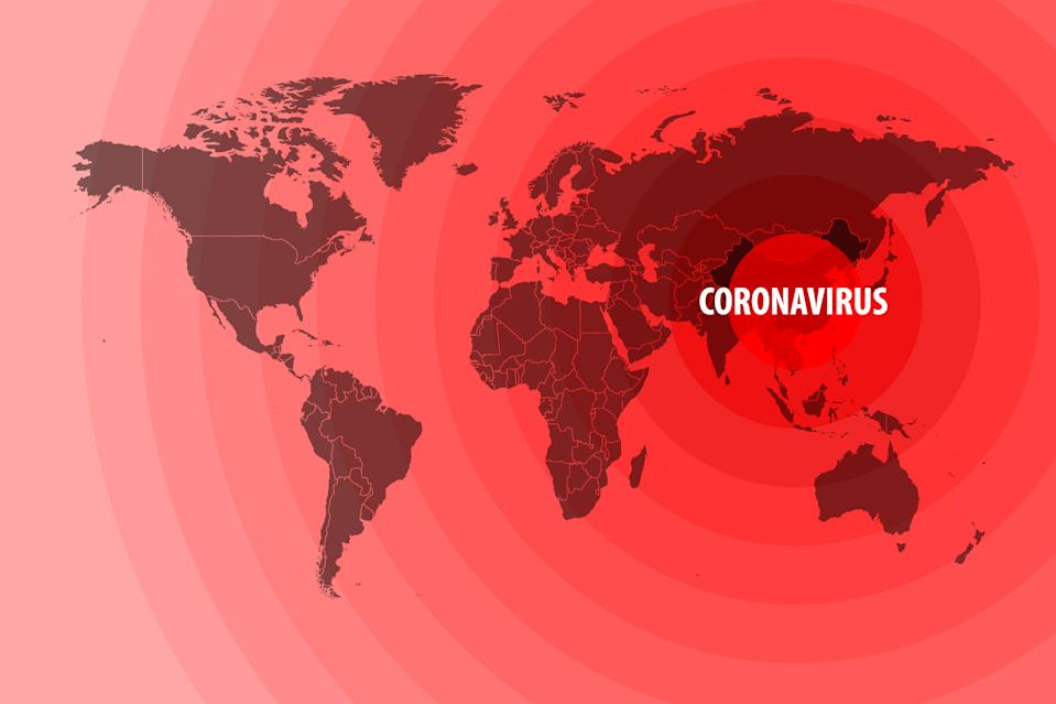 Illustration of the spread of a new coronavirus from China around the world. Vector illustration.