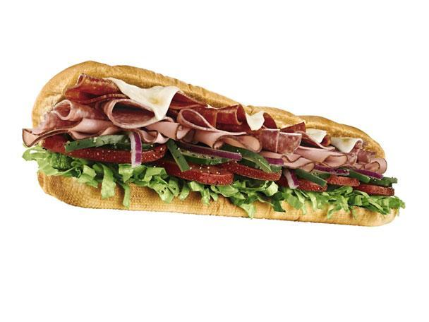"""<div class=""""caption-credit""""> Photo by: Photo: Subway Restaurants</div><b>9. Subway Italian B.M.T. Sandwich</b> <br> Subway began in 1965 as a single sub-sandwich shop in Bridgeport, Connecticut, run by then 17-year-old high school grad Fred DeLuca. It's since grown into more than 36,980 shops in 100 countries worldwide. The chain's flagship sandwich, the Italian B.M.T.-which originally was named for the Brooklyn-Manhattan Transit line of the New York City subway system-features layers of Genoa salami, spicy pepperoni, and Black Forest ham with a choice of veggies. The company has since given a new translation to the acronym: """"Biggest, Meatiest, Tastiest."""" <b><br> More from Gourmet:</b> <br> <b><a href=""""http://www.gourmet.com/recipes/menus/2008/08/burger-slideshow?mbid=synd_yshine"""" rel=""""nofollow noopener"""" target=""""_blank"""" data-ylk=""""slk:Gourmet's 12 Best Burgers of All Time"""" class=""""link rapid-noclick-resp"""">Gourmet's 12 Best Burgers of All Time</a> <br></b> <b><a href=""""http://www.gourmet.com/recipes/2000s/2009/03/sandwiches-of-the-world-slideshow#slide=1?mbid=synd_yshine"""" rel=""""nofollow noopener"""" target=""""_blank"""" data-ylk=""""slk:The Best Sandwiches Around the World"""" class=""""link rapid-noclick-resp"""">The Best Sandwiches Around the World</a> <br></b> <br>"""