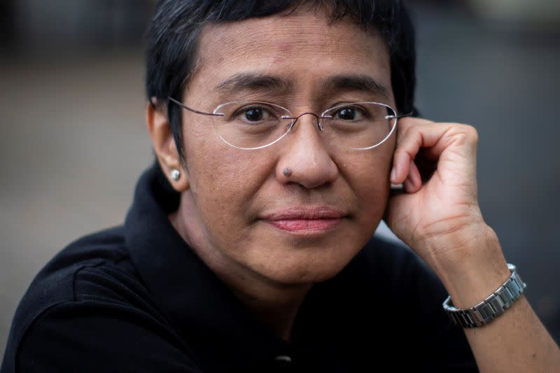 Filipino journalist Maria Ressa, one of 2021 Nobel Peace Prize winners, poses for a picture
