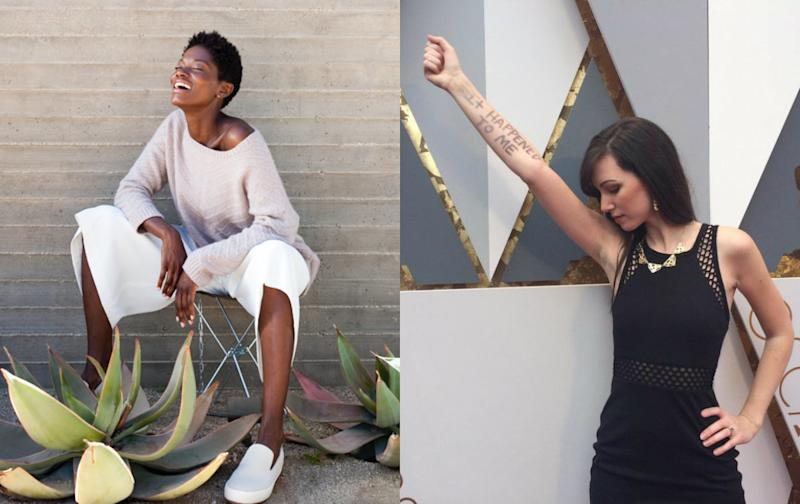"""Left: Brianna at a model shoot last year; Right: Julia at the Academy Awards where she joined Lady Gaga on stage during her performance of the song """"'Til it Happens to You."""" (Brianna/Julia)"""