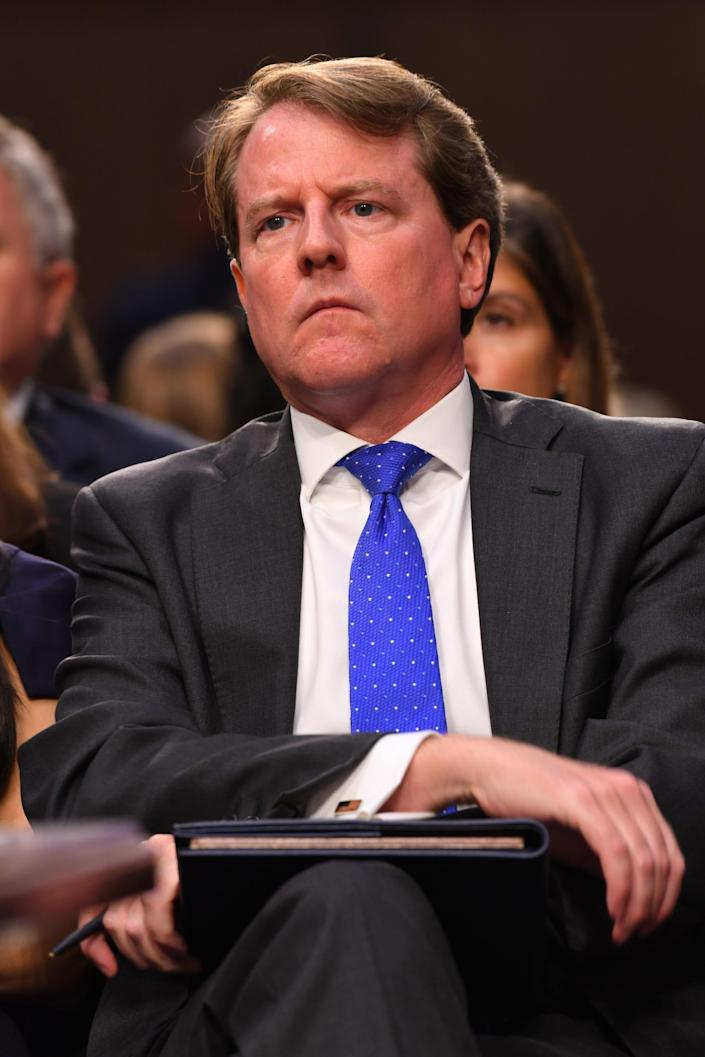 Former White House counsel Don McGahn listens Sept. 4, 2018, during the confirmation hearing for Judge Brett Kavanaugh to become associate justice on the Supreme Court.