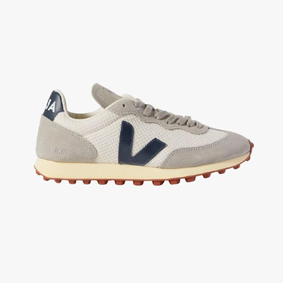 "$140, NET-A-PORTER. <a href=""https://www.net-a-porter.com/en-us/shop/product/veja/net-sustain-rio-branco-leather-trimmed-suede-and-mesh-sneakers/1298814"" rel=""nofollow noopener"" target=""_blank"" data-ylk=""slk:Get it now!"" class=""link rapid-noclick-resp"">Get it now!</a>"