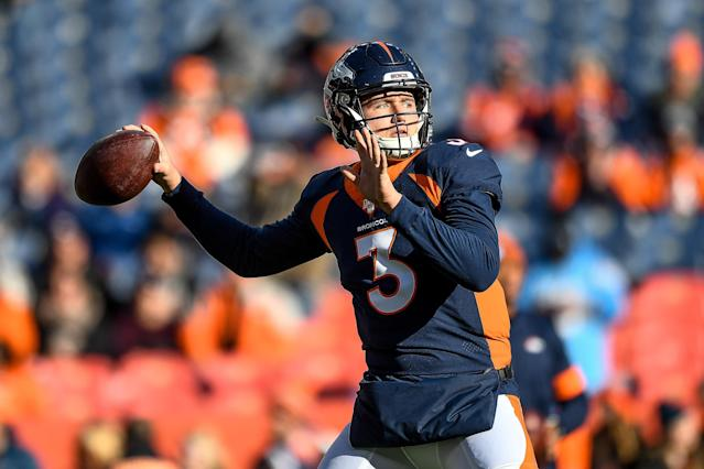 "<a class=""link rapid-noclick-resp"" href=""/nfl/players/31874/"" data-ylk=""slk:Drew Lock"">Drew Lock</a>'s first NFL touchdown pass was one to remember against the <a class=""link rapid-noclick-resp"" href=""/nfl/teams/la-chargers/"" data-ylk=""slk:Los Angeles Chargers"">Los Angeles Chargers</a>. (Photo by Dustin Bradford/Getty Images)"