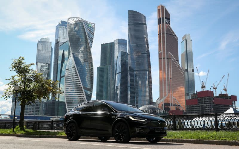 FILE PHOTO: A Tesla Model X electric vehicle is shown in Moscow