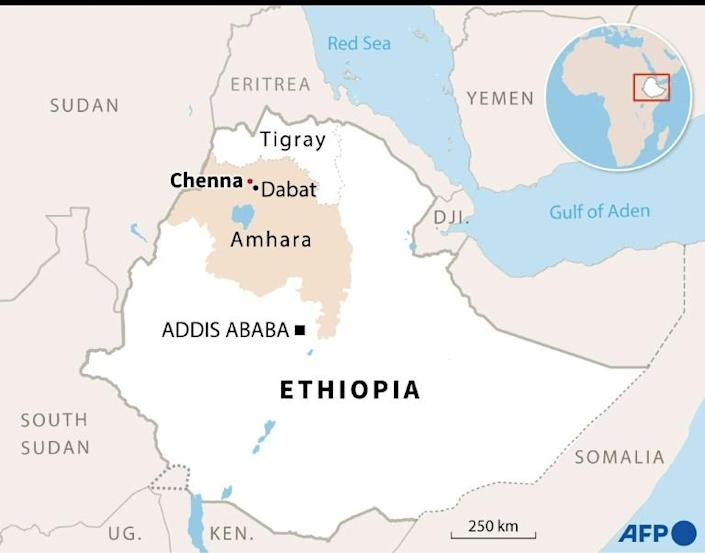 Map locating the village of Chenna in the Amhara region of Ethiopia. (AFP/Aude GENET)