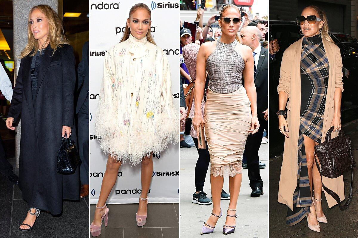 """She's promoting her film <em>Hustlers </em>and taking the title to heart, hitting the streets of N.Y.C. in one high-impact outfit after another (eight total in 24 hours!).  From left: a long black coat over a Self-Portrait top and Vatanika ruffled skirt with Giuseppe Zanotti heels; a Valentino blouse and shorts set topped with an ostrich-feather-trimmed cape, plus Dolce & Gabbana platform heels and <a href=""""https://melindamaria.com/collections/new/products/big-ass-hoop-4"""">Melinda Maria earrings</a>; a Tom Ford outfit with a Christian Louboutin clutch and <a href=""""https://www.amazon.com/PRIVe-REVAUX-Designer-Sunglasses-Caviar/dp/B07RBM98DR/?ie=UTF8&camp=1789&creative=9325&linkCode=as2&creativeASIN=B07RBM98DR&tag=people0d0-20&ascsubtag=6ebaec112502ae5b6aa7dfc9e87ab363"""" target=""""_blank"""" rel=""""nofollow"""">Privé Revaux sunglasses</a>; and a plaid high-neck high-low dress with <a href=""""https://click.linksynergy.com/deeplink?id=93xLBvPhAeE&mid=37499&murl=https%3A%2F%2Fus.jimmychoo.com%2Fen%2Fwomen%2Fshoes%2Fanouk%2Fblack-patent-leather-pointy-toe-pumps-ANOUKPAT010003.html&u1=PEO%2CQuickChangeArtists%21SeetheStarsWhoPacktheMostOutfitsPossibleintoOneShortDay%2Caapatoff%2CUnc%2CGal%2C6004572%2C201909%2CI"""" target=""""_blank"""" rel=""""nofollow"""">Jimmy Choo heels</a> and <a href=""""http://www.anrdoezrs.net/links/8029122/type/dlg/sid/PEO,QuickChangeArtists!SeetheStarsWhoPacktheMostOutfitsPossibleintoOneShortDay,aapatoff,Unc,Gal,6004572,201909,I/https://www.luisaviaroma.com/en-us/p/max-mara/women/70I-AIO002?ColorId=MDMw0&lvrid=_p_dLCG_gw&SizeTypeId=04&SizeId=1&from=gshop&gclid=EAIaIQobChMI9tu8zY3M5AIV0FqGCh3kRQLREAQYAyABEgKrpPD_BwE&gclsrc=aw.ds"""" target=""""_blank"""" rel=""""nofollow"""">a Max Mara bag</a>."""