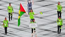 <p>Sao Tome and Principe stood out from the crowd in lime green. </p>
