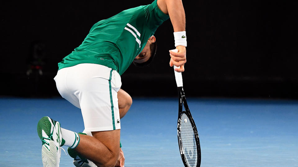 Novak Djokovic, pictured here in the third round of the Australian Open against Taylor Fritz.