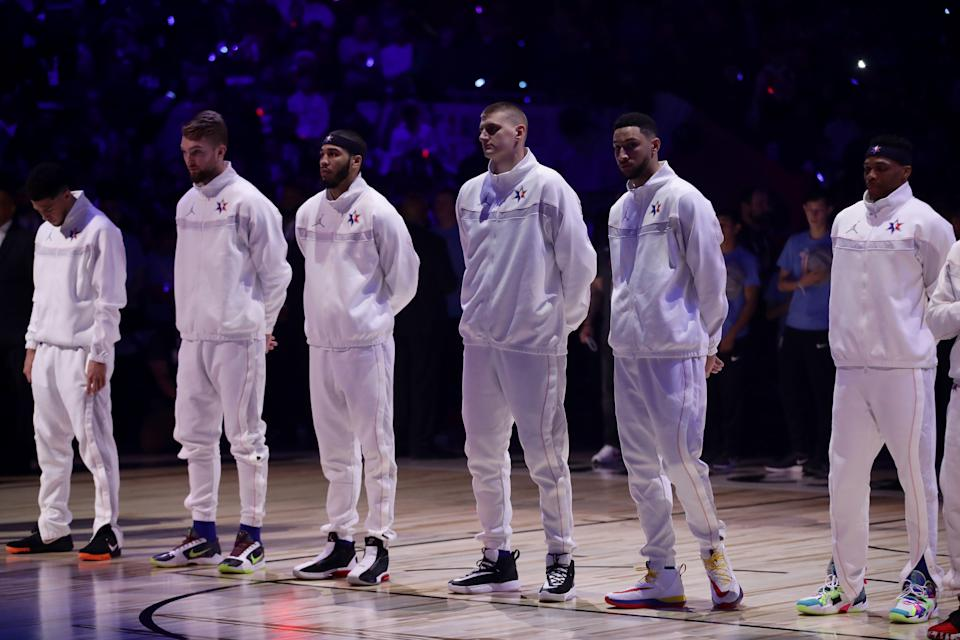 Team LeBron looks on before the 69th NBA All-Star Game at the United Center on February 16, 2020 in Chicago, Illinois.