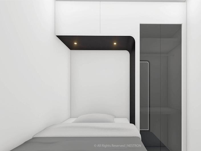 a rendering of the two-bedroom Cube Two X's bedroom