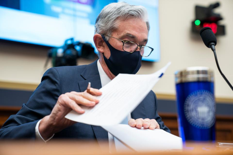 """Federal Reserve Chair Jerome Powell prepares to speak during a House Financial Services Committee hearing on """"Oversight of the Treasury Department's and Federal Reserve's Pandemic Response"""" in the Rayburn House Office Building in Washington, DC, on December 2, 2020. (Photo by JIM LO SCALZO / POOL / AFP) (Photo by JIM LO SCALZO/POOL/AFP via Getty Images)"""