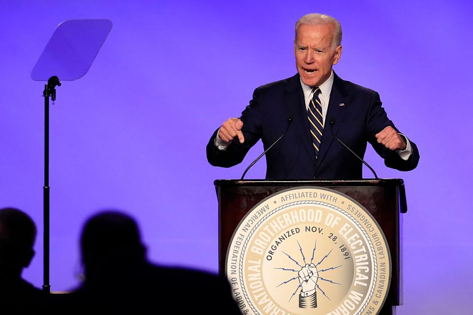 Former Vice President Joe Biden speaks at the International Brotherhood of Electrical Workers construction and maintenance conference in Washington, Friday, April 5, 2019. (Photo: ASSOCIATED PRESS)