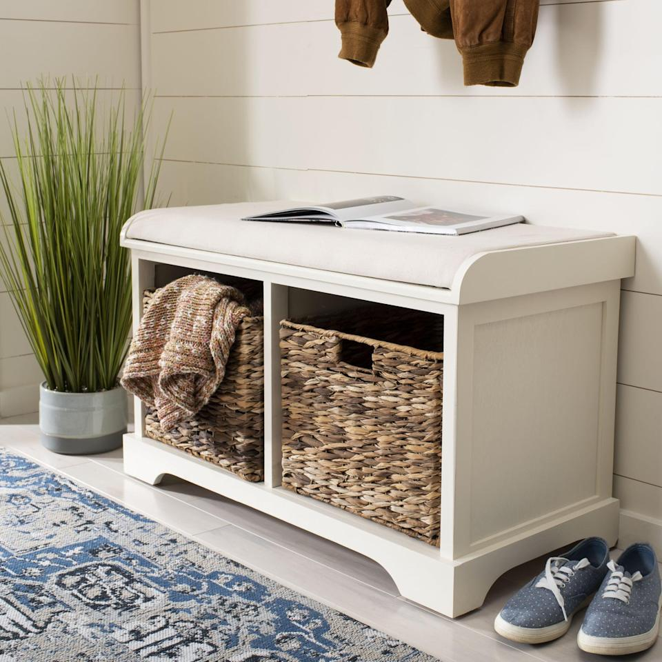 <p>The baskets in this <span>Santa Cruz Upholstered Cubby Storage Bench</span> ($215, originally $420) are so useful.</p>