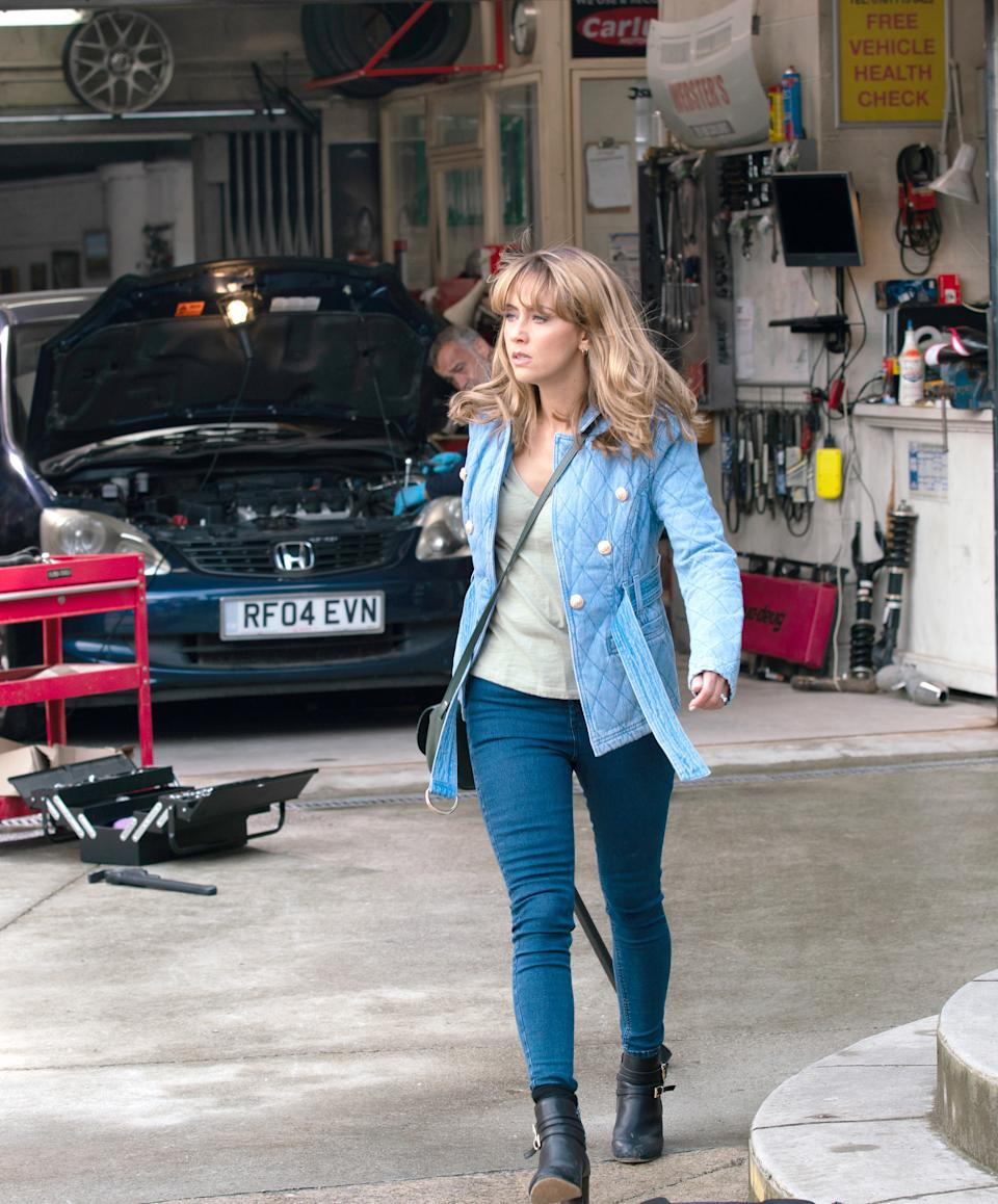 FROM ITV  STRICT EMBARGO - No Use Before Tuesday 17th August 2021  Coronation Street 10411  Monday 23rd August 2021 - 2nd Ep  Deciding that Underworld's van is responsible for a large share of local air pollution, Maria Connor [SAMIA LONGCHAMBON]  insists Sarah take it off the road.  Sarah refuses and is shocked by Maria's reaction.     Picture contact David.crook@itv.com   Photographer - Danielle Baguley  This photograph is (C) ITV Plc and can only be reproduced for editorial purposes directly in connection with the programme or event mentioned above, or ITV plc. Once made available by ITV plc Picture Desk, this photograph can be reproduced once only up until the transmission [TX] date and no reproduction fee will be charged. Any subsequent usage may incur a fee. This photograph must not be manipulated [excluding basic cropping] in a manner which alters the visual appearance of the person photographed deemed detrimental or inappropriate by ITV plc Picture Desk. This photograph must not be syndicated to any other company, publication or website, or permanently archived, without the express written permission of ITV Picture Desk. Full Terms and conditions are available on  www.itv.com/presscentre/itvpictures/terms