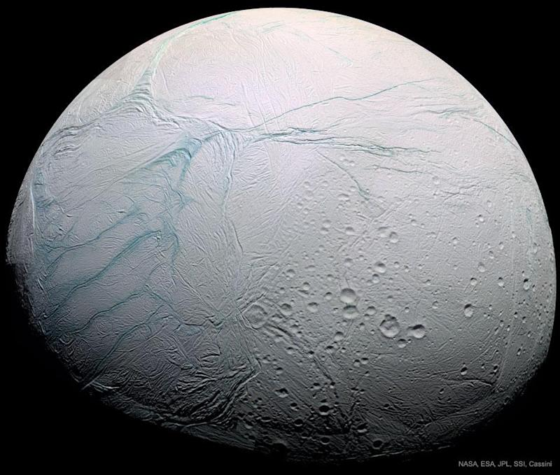 """First seen by the Cassini mission to Saturn, Enceladus' """"tiger stripes"""" are like nothing else known in our Solar System: NASA, ESA, JPL, SSI, Cassini Imaging Team"""