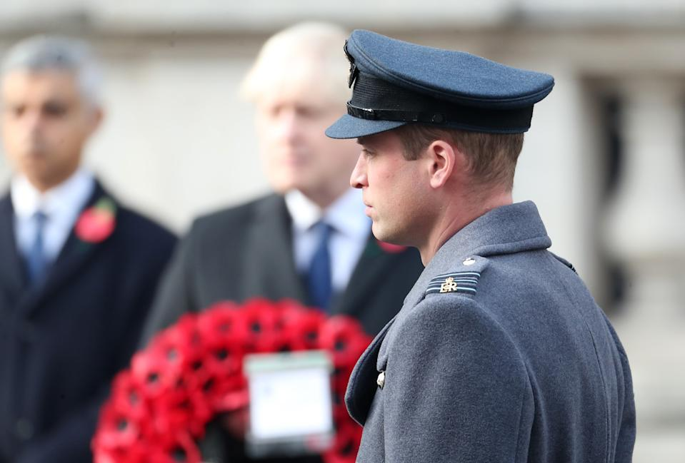 LONDON, ENGLAND - NOVEMBER 08: Prince William, Duke of Cambridge during the National Service of Remembrance at The Cenotaph on November 08, 2020 in London, England. Remembrance Sunday services are still able to go ahead despite the covid-19 measures in place across the various nations of the UK. Each country has issued guidelines to ensure the safety of those taking part. (Photo by Chris Jackson - WPA Pool/Getty Images)