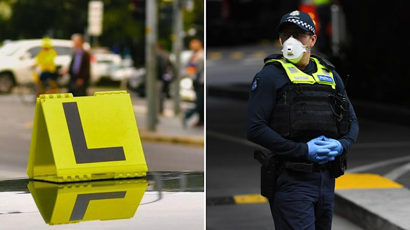 Stock images of a L-plate on a car and a police officer wearing a mask. Source: AAP