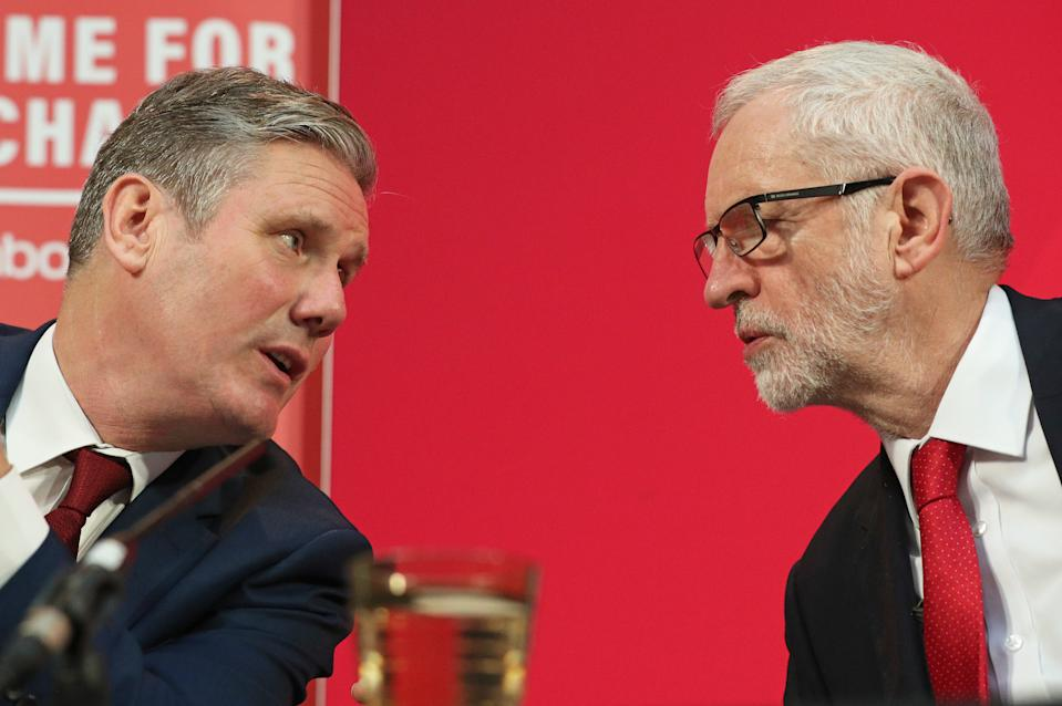 Labour Party leader Jeremy Corbyn (right) alongside shadow Brexit secretary Keir Starmer during a press conference in central London.