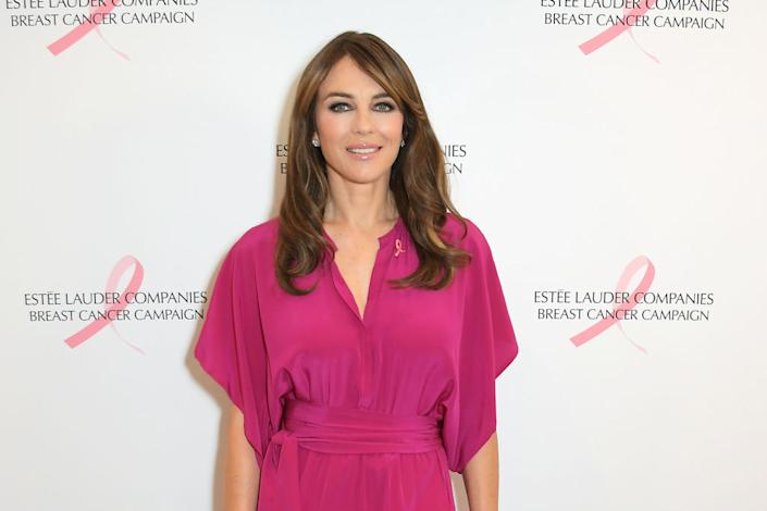 Elizabeth Hurley has been campaigning to raise awareness about breast cancer, pictured in October 2019. (Getty Images)