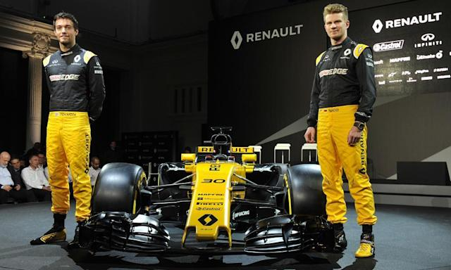 """<span class=""""element-image__caption"""">Jolyon Palmer (left) and Nico Hulkenberg launch the new Renault.</span> <span class=""""element-image__credit"""">Photograph: Nick Ansell/PA</span>"""