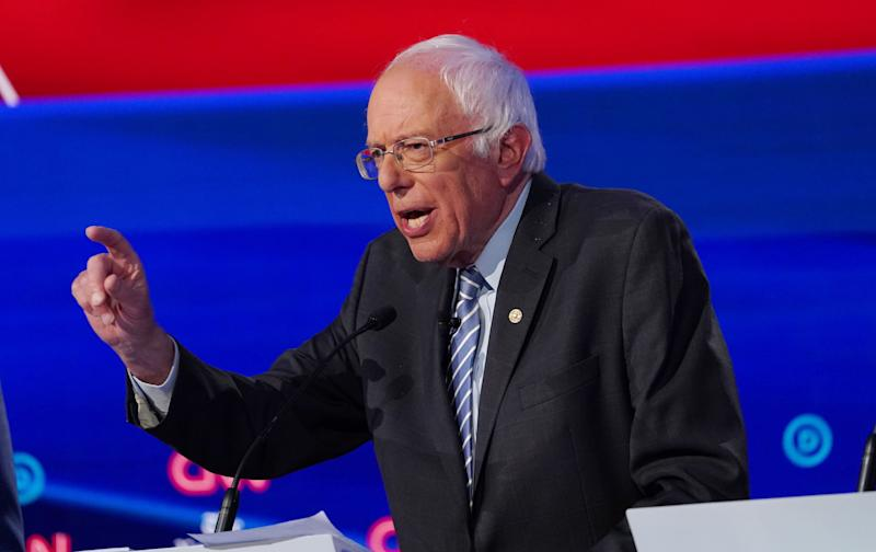 Sen. Bernie Sanders (I-Vt.) speaks during the fourth debate in Westerville, Ohio, this past Tuesday. He hopes to build momentum with his first campaign rally after a heart attack. (Photo: Shannon Stapleton / Reuters)