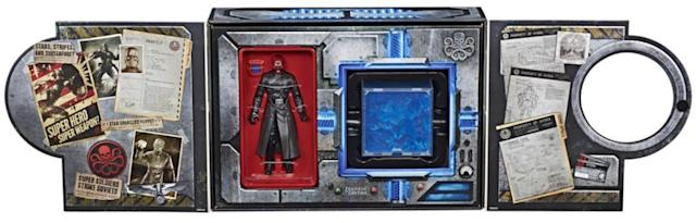 "The interior includes secret Hydra ""files"" based on the Marvel Cinematic Universe. (Photo: Hasbro)"