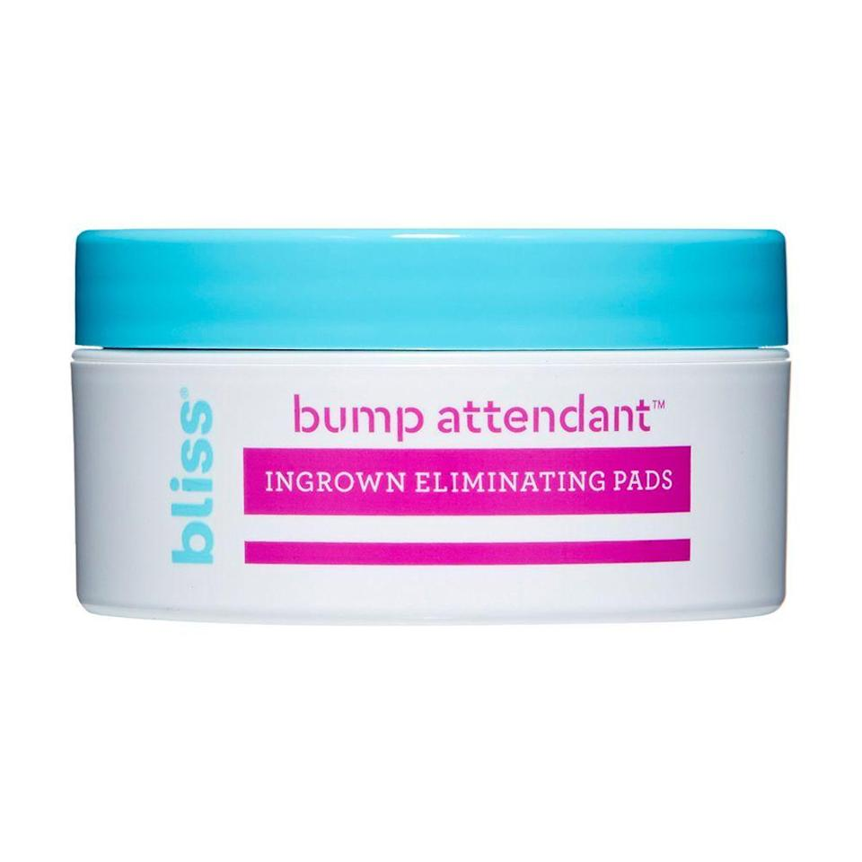"<p><strong>Bliss</strong></p><p>ulta.com</p><p><strong>$128.00</strong></p><p><a href=""https://go.redirectingat.com?id=74968X1596630&url=https%3A%2F%2Fwww.ulta.com%2Fbump-attendant-pads%3FproductId%3DxlsImpprod17921180&sref=https%3A%2F%2Fwww.bestproducts.com%2Fbeauty%2Fg23610496%2Fingrown-hair-treatment%2F"" rel=""nofollow noopener"" target=""_blank"" data-ylk=""slk:Shop Now"" class=""link rapid-noclick-resp"">Shop Now</a></p><p>We love all things Bliss including the brand's convenient Bump Attendant Pads. These pads are saturated in a formula filled with antioxidant-rich <a href=""https://www.byrdie.com/green-tea-for-skin-4843092"" rel=""nofollow noopener"" target=""_blank"" data-ylk=""slk:green tea"" class=""link rapid-noclick-resp"">green tea</a>, salicylic acid, and glycolic acid to loosen up those ingrown hairs without causing any dryness or irritation.</p><p>Just swipe on your ingrown hairs and these wipes work to help diminish the appearance of bumps and redness.</p>"