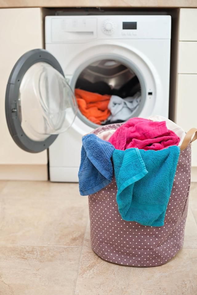 "<p>There's no limit to what a kitchen towel might sop up throughout the week, so washing your towels separately from regular loads of laundry ensures that no germs or leftover food particles end up on your favorite set of pajamas. If throwing only a couple towels in the laundry machine seems like <a href=""https://www.popsugar.com/smart-living/Simple-Ways-Go-Green-38206173"" target=""_blank"" class=""ga-track"" data-ga-category=""Related"" data-ga-label=""https://www.popsugar.com/smart-living/Simple-Ways-Go-Green-38206173"" data-ga-action=""In-Line Links"">a waste of water</a> to you, I get it. In cases where dish towels are lightly used and haven't touched any questionable surfaces, they can be mixed in with a regular load of laundry to save time and water.</p>"