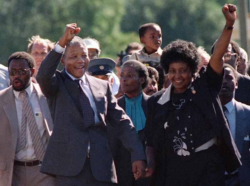 Nelson Mandela and then-wife Winnie in 1990 after his release from prison (AFP Photo/ALEXANDER JOE)