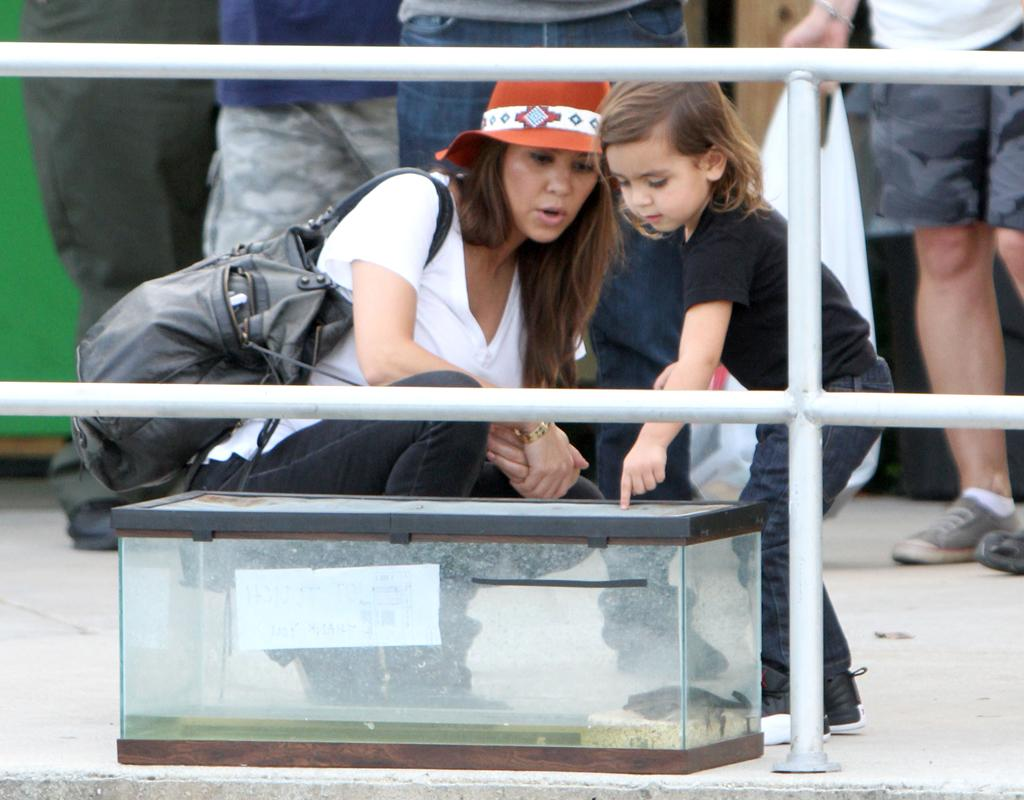 Kourtney Kardashian with Scott Disick and son in the Everglades Safari Park, Airboat rides.
