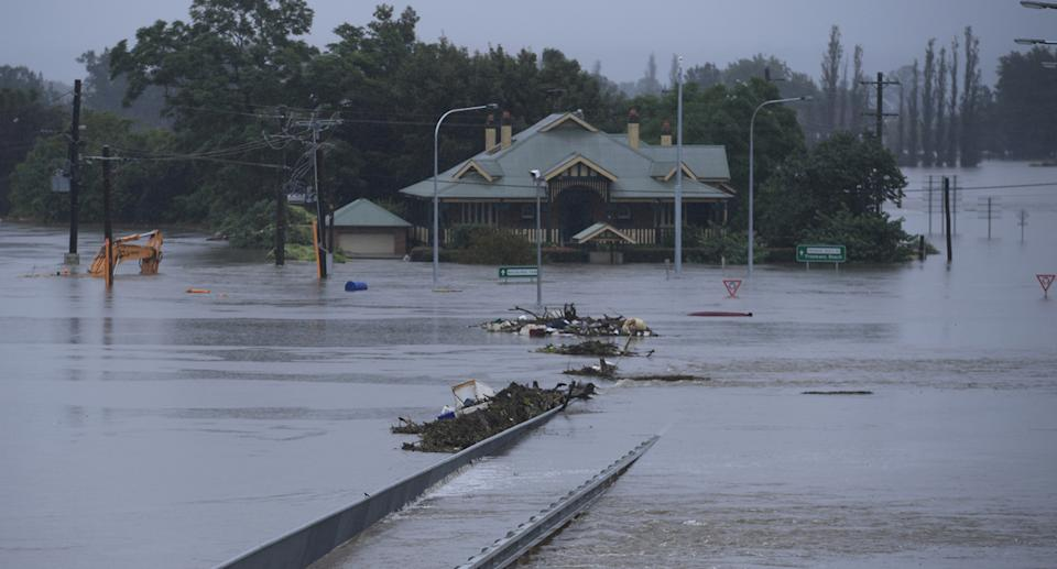 The New Windsor Bridge is seen inundated by flood waters from Hawkesbury River at Windsor in the north west of Sydney
