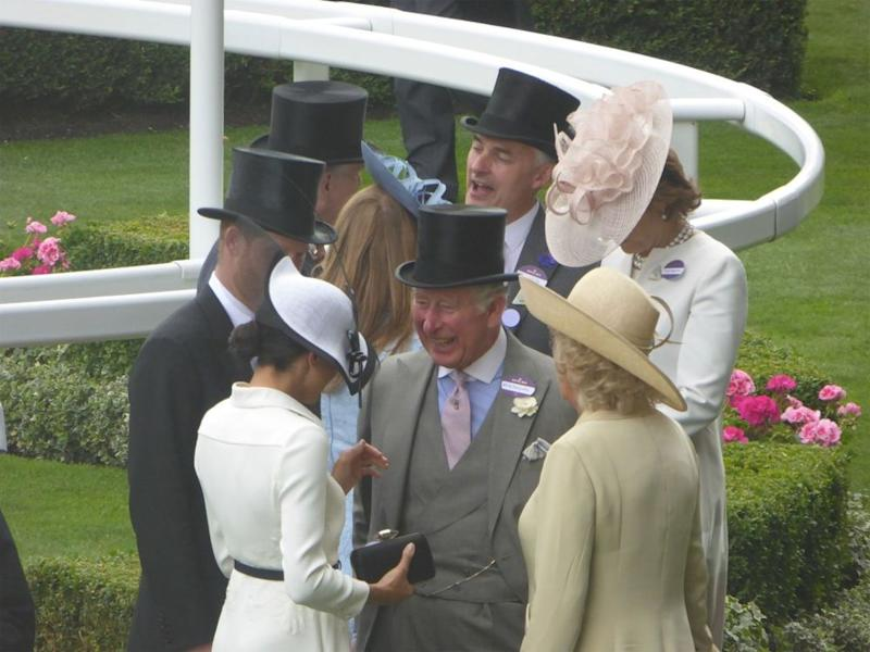 Prince Charles laughs with Meghan Markle at Royal Ascot on June 19, 2018.