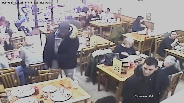 Undated handout CCTV grab issued by the Metropolitan Police of Svenson Ong-a-Kwie, 19, (left) and Manuel Petrovic, 20, (right) inside Cafe 23 on Collier Row Road taken during the day of March 1, hours before Jodie Chesney was murdered (PA)