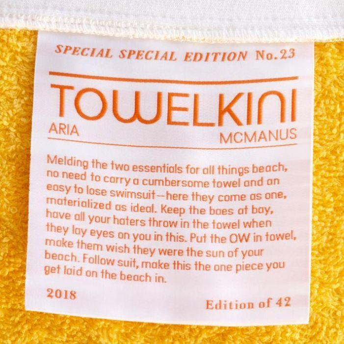The bikini towel combinations tag features on Special Special's website