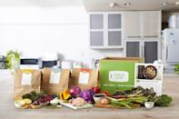 """<p>Green Chef's meal kit prices vary depending on which of the three plans you choose: Keto + Paleo, Balanced Living or Plant-Powered. No matter what you choose, every kit contains 100% organic ingredients that have no GMOs or pesticides. </p> <p>Keto + Paleo is the most expensive kit. It's catered to people who are gluten free, watching their carb intake or avoiding grains. For two people receiving three recipes per week, the kit costs $92.93, including shipping. With meat, seafood and vegetarian options, the Balanced Living kit has the most diverse menu. It's the same price as the Plant-Powered plan, which strictly offers vegetarian and vegan recipes. For two people receiving three recipes per week, these kits cost $86.93 each, including shipping.</p> <p>Customers choose from a menu of about eight or nine recipes per week, but the number of recipes varies depending on which plan you choose. All of the meal plans offered through Green Chef have a four-serving option.</p> <p><a href=""""https://www.thedailymeal.com/cook/green-chef-meal-kit?referrer=yahoo&category=beauty_food&include_utm=1&utm_medium=referral&utm_source=yahoo&utm_campaign=feed"""" rel=""""nofollow noopener"""" target=""""_blank"""" data-ylk=""""slk:For the full Green Chef review, click here."""" class=""""link rapid-noclick-resp"""">For the full Green Chef review, click here.</a></p>"""