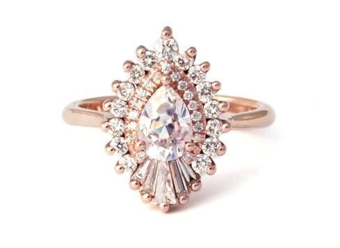 """<p>The vintage appeal mixed with the unique shape of <a href=""""https://www.popsugar.com/buy/Rhapsody-Ring-Heidi-Gibson-90286?p_name=The%20Rhapsody%20Ring%20by%20Heidi%20Gibson&retailer=heidigibson.com&pid=90286&price=2%2C580&evar1=fab%3Aus&evar9=44555978&evar98=https%3A%2F%2Fwww.popsugar.com%2Fphoto-gallery%2F44555978%2Fimage%2F44555983%2FRhapsody-Ring-Heidi-Gibson&list1=wedding%2Cjewelry%2Crose%20gold%2Cengagement%20rings%2Cshopping%20guide&prop13=api&pdata=1"""" rel=""""nofollow noopener"""" class=""""link rapid-noclick-resp"""" target=""""_blank"""" data-ylk=""""slk:The Rhapsody Ring by Heidi Gibson"""">The Rhapsody Ring by Heidi Gibson</a> ($2,580) makes this ring a stunner for sure. </p>"""