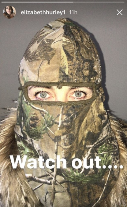 The actress hinted at her next project with this cryptic outfit. Photo: Instagram/elizabethhurley1