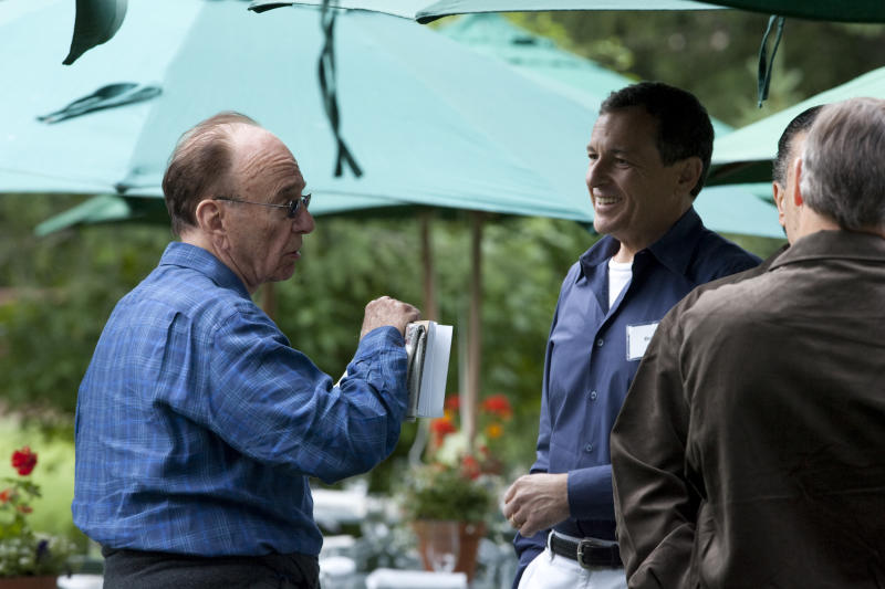 Rupert Murdoch and Robert Iger at the annual Allen & Co.'s media summit in Sun Valley, Idaho, Wednesday, July 8, 2009.(AP Photo/Nati Harnik)