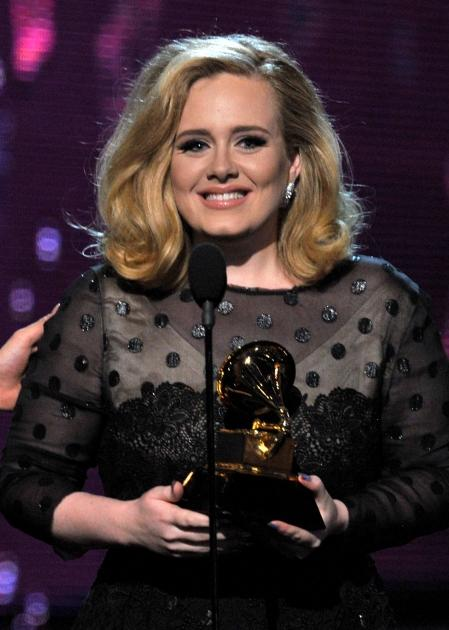 Adele accepts the award for Song of the Year onstage at the 54th Annual Grammy Awards held at Staples Center in Los Angeles on February 12, 2012  -- Getty Images