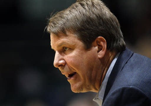 UTEP coach Tim Floyd reacts watches during the first half of an NCAA college basketball game against Tulane in New Orleans, Saturday, Jan. 21, 2012. (AP Photo/Jonathan Bachman)