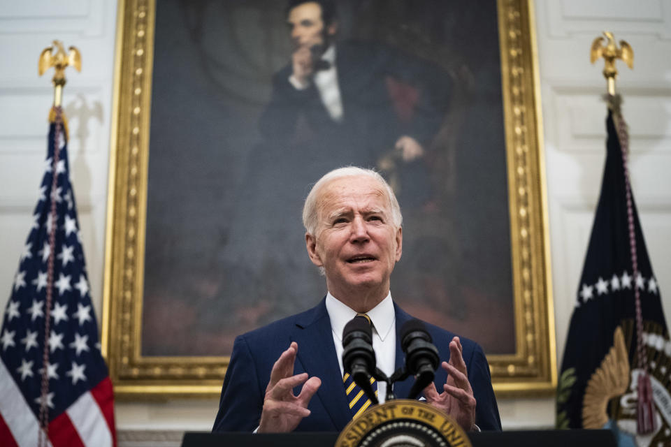 WASHINGTON, DC - JANUARY 22:  President Joe R. Biden speaks about the economy before signing executive orders in the State Dining Room at the White House on Friday, Jan 22, 2021 in Washington, DC. (Photo by Jabin Botsford/The Washington Post via Getty Images)