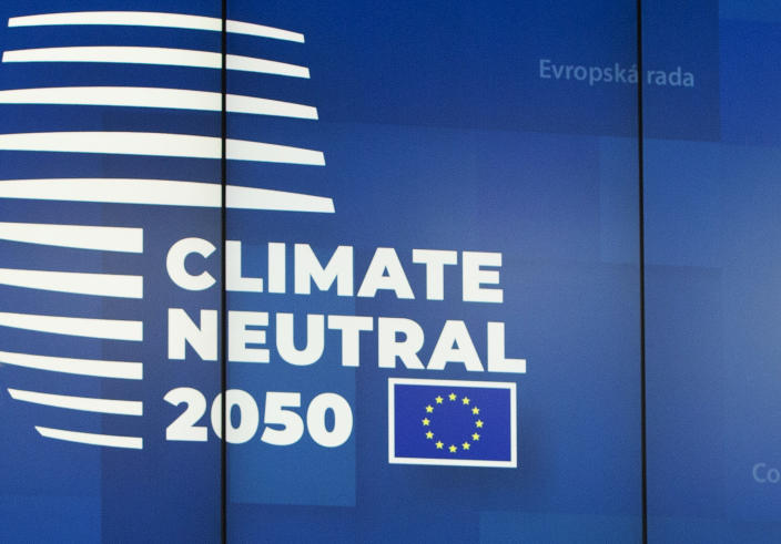 FILE - In this file photo dated Friday, Dec. 13, 2019, a European logo as European Union leaders gathered for their year-end summit and discussed climate change funding, in Brussels. Massive challenges lay ahead for the European Union in 2020, as the impact of climate change seems likely to drive the bloc's thinking and policy initiatives over the coming years, starting Wednesday Jan. 1, 2020. (AP Photo/Virginia Mayo, FILE)