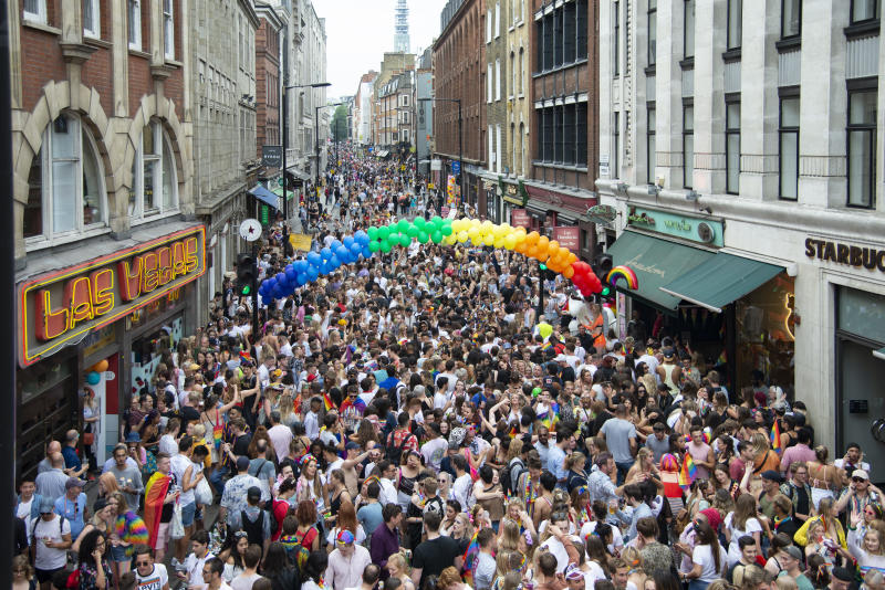 Members of the Lesbian, Gay, Bisexual and Transgender (LGBT) community take part in the annual Pride Parade in London,UK on July 6, 2019 . (Photo by Claire Doherty/Sipa USA)